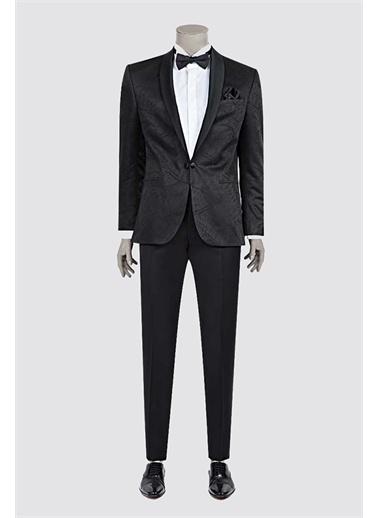 Damat Slim Fit Desenli Takım Elbıse Siyah